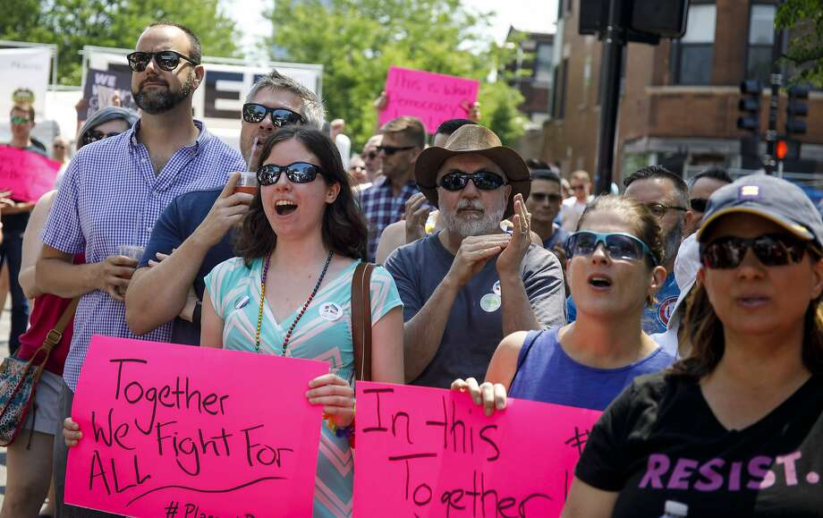 """Supporters of LGBT rights join the Chicago Equality rally in the Andersonville neighborhood in June. The ban on using the """"gay panic defense"""" takes effect in January of the new year. Photo: Brian Cassella, Associated Press"""