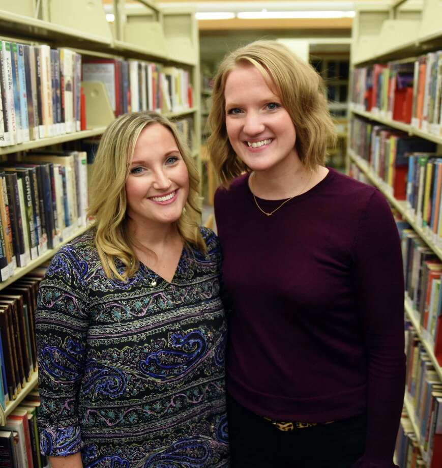 Val Santillo, left, with her sister Alison Krawczyk, right, at the Niskayuna Library on Wednesday, Nov. 15, 2017, in Niskayuna, N.Y.  Alison is inspired by her sister, Val, a first-grade teacher at Red Mill Elementary. (Will Waldron/Times Union) Photo: Will Waldron / 20042124A