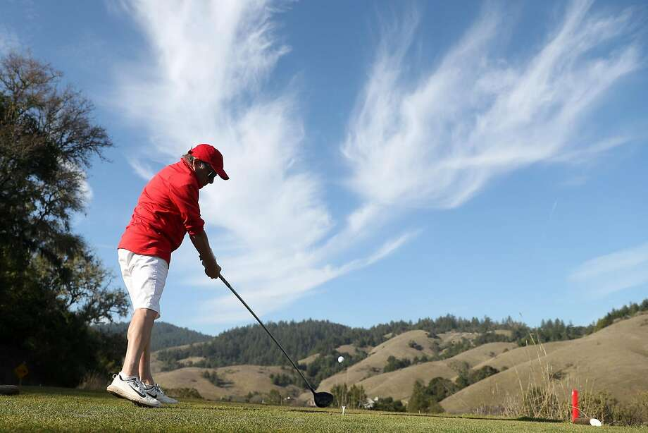 Bob Hayden of Larkspur tees off on 10th hole at San Geronimo Golf Course in San Geronimo, Calif., on Monday, December 18, 2017. Photo: Scott Strazzante, The Chronicle