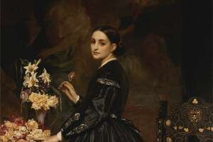 """Frederic Leighton's """"Mrs. James Guthrie"""" 1865, oil on canvas, is on view at at Yale Center for British Art in New Haven."""