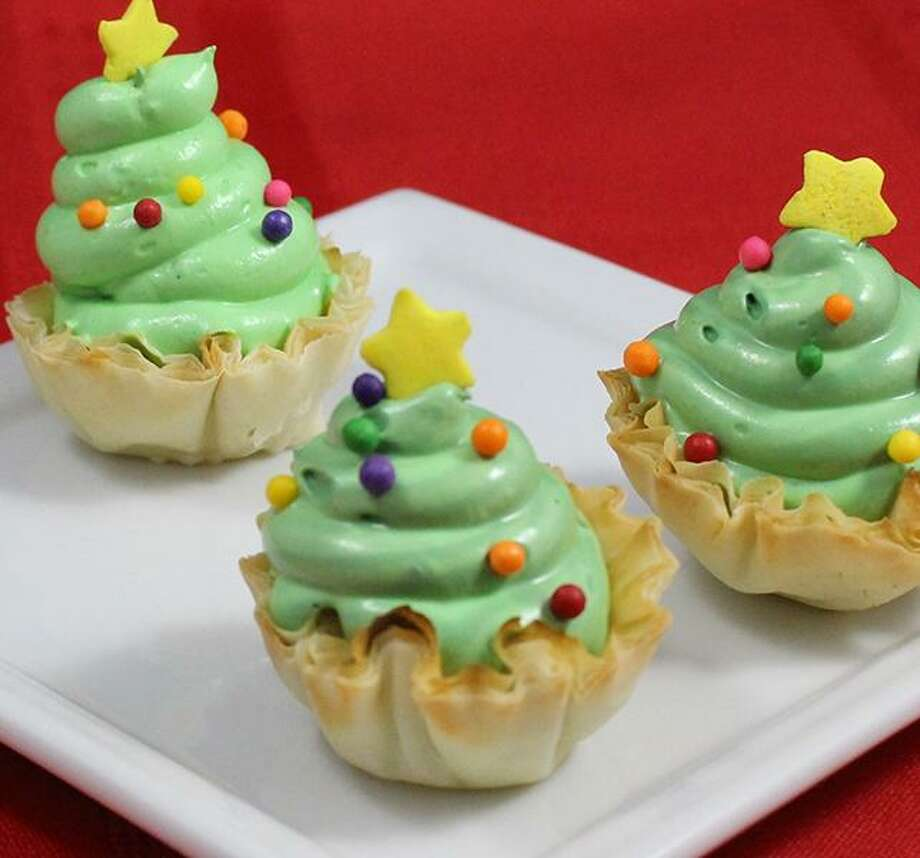 Peppermint Christmas Tree mini shells. Place one of these in back of Santa's sleigh. Photo: Photo Provided By Athen Foods