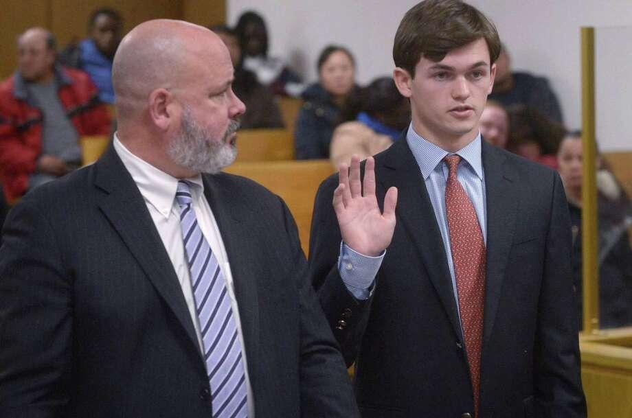 Jack Joyce, 18, in state Superior Court in Norwalk on Dec. 14. Photo: Erik Trautmann / Hearst Connecticut Media / Norwalk Hour