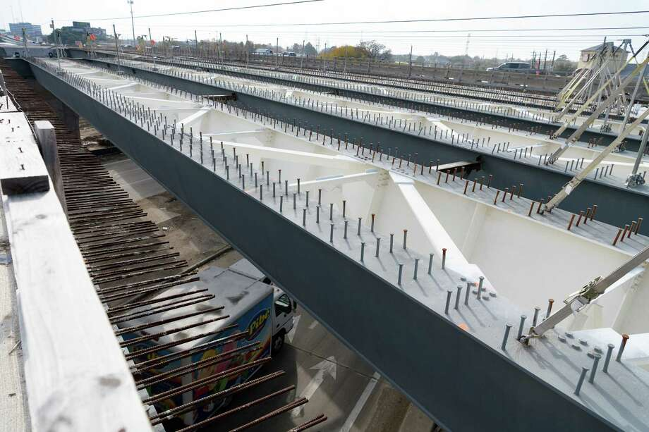 Steel girders for the overpass at Antoine and U.S. 290 have been installed and are waiting to have steel platforms installed before concrete is poured on Dec. 21. Photo: Wilf Thorne / © 2017 Houston Chronicle