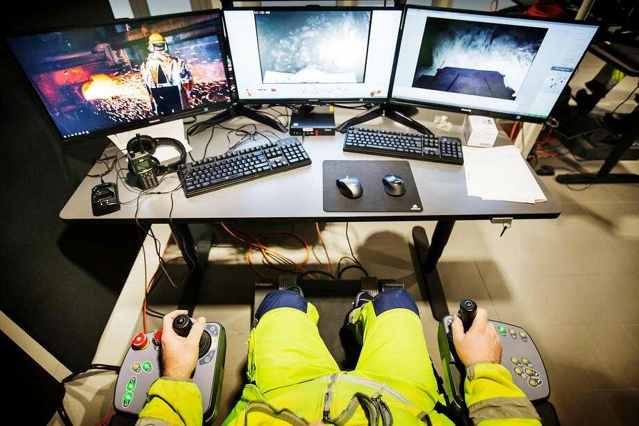 Erik Lundstrom remotely operates equipment at the New Boliden mine in Garpenberg, Sweden. Photo: LINUS SUNDAHL-DJERF, NYT