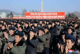 This picture taken on December 3, 2017 and released from North Korea's official Korean Central News Agency (KCNA) on December 4 shows a rally by army-civilian to celebrate the successful ICBM test-fire in South Hamgyong, North Korea.  / AFP PHOTO / KCNA VIA KNS / STRSTR/AFP/Getty Images