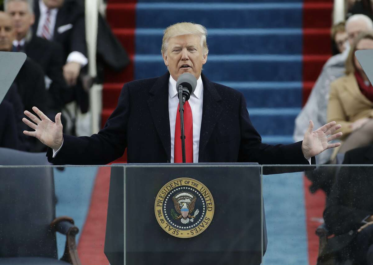 President Donald Trump delivers his inaugural address after being sworn in as the 45th president of the United States on Jan. 20, 2017.