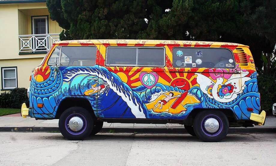 The Surfer Magazine sticker and the paint job communicate this VW bus owner's oceanfront devotion. It was spotted outside Windansea beach in La Jolla. Photo: Keli Dailey, Special To The Chronicle