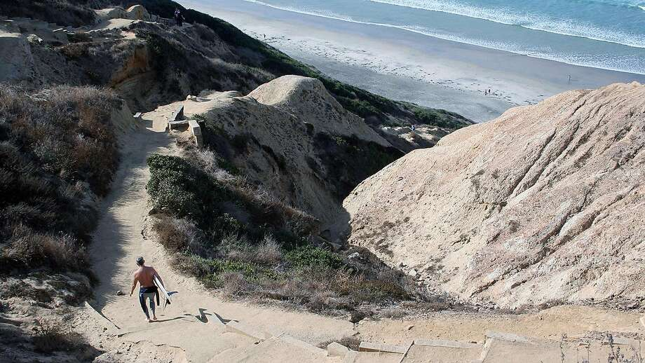 The hike down from the Torrey Pines Gliderport to Black's Beach—a hot spot for surfers and nudists. Just know the hike difficulty calculator puts the climb back up in the challenging elevation with no guard rail range. Photo: Keli Dailey, Special To The Chronicle