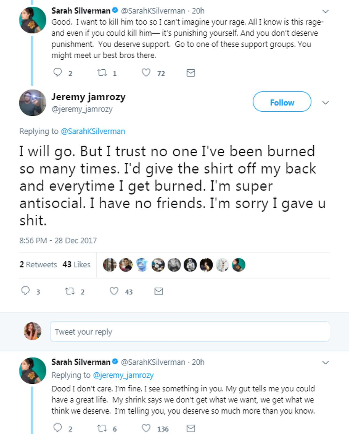 Threads of negative reactions beneath celebrity tweets is nothing out of the ordinary, but an exchange between Sarah Silverman and a San Antonio man had a much more postive ending.