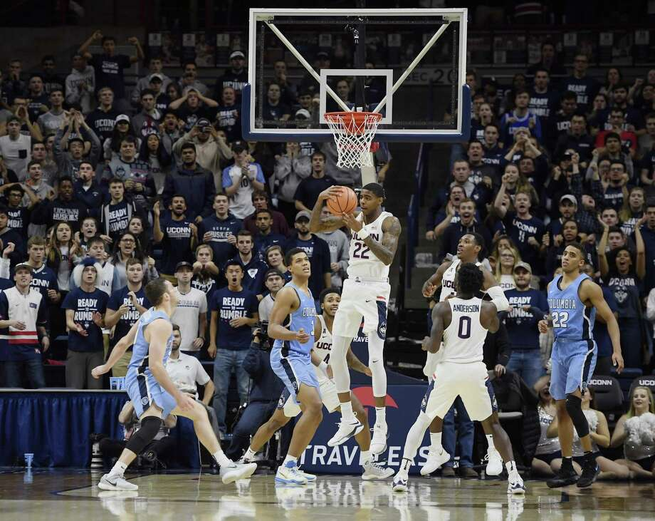 Rebounding has been an area of improvement for Terry Larrier and UConn this season, but the Huskies will be tested by Wichita State, which owns a plus-11.5 rebounding margin. Photo: Jessica Hill / Associated Press / AP2017