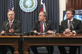 Conventional wisdom has it that these three — Gov. Greg Abbott (from left), Attorney General Ken Paxton and Lt. Gov. Dan Patrick — will be vulnerable in re-election bids next year. That's not entirely borne out by the state's peculiar circumstances.