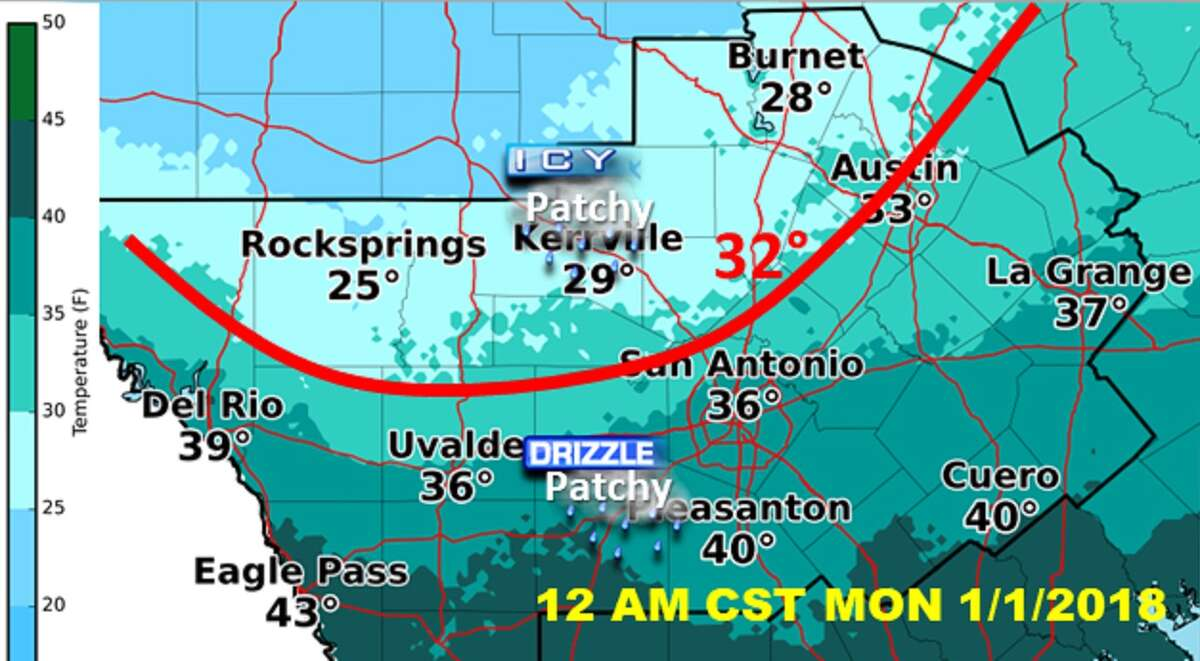 Images released by the National Weather Service Friday, Dec. 29, 2017, show when San Antonio can expect frigid temperatures and icy conditions to hit the area.
