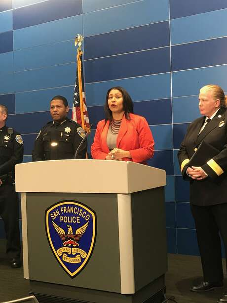 San Francisco Police Chief William Scott and Acting Mayor London Breed discussed security plans for New Year's Eve at a news conference at San Francisco Police Headquarters. Photo: Sophie Haigney