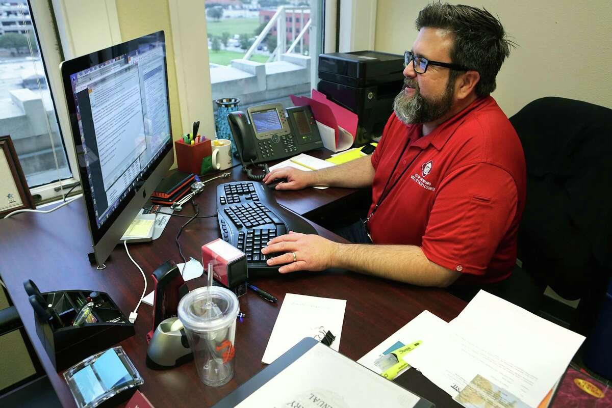 Christopher Callanen, Assistant to City Council who has worked with nearly four dozen different council members during his time at City Hall, on Tuesday, Nov. 14, 2017.