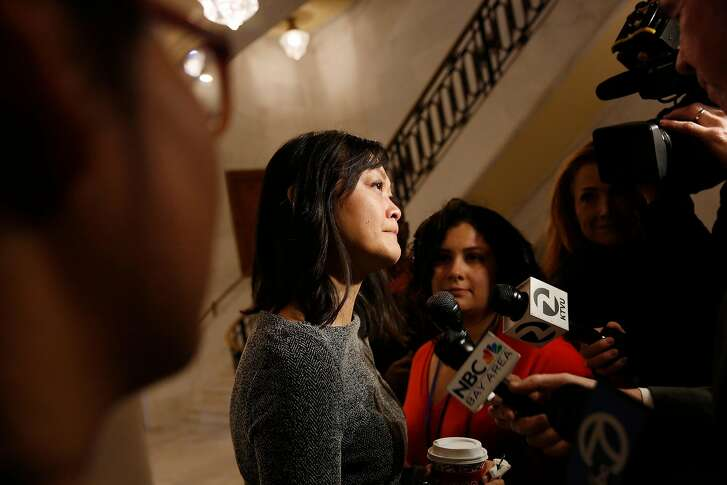 Carmen Chu, San Francisco Assessor-Recorder,  talks to  the media  about Mayor Ed Lee at City Hall on Tuesday, December 12, 2017 in San Francisco, Calif.  In a statement this morning, officials from the mayor's office said that Lee passed away at 1:11 a.m. at the Zuckerberg San Francisco General Hospital. Lee was 65 years old.