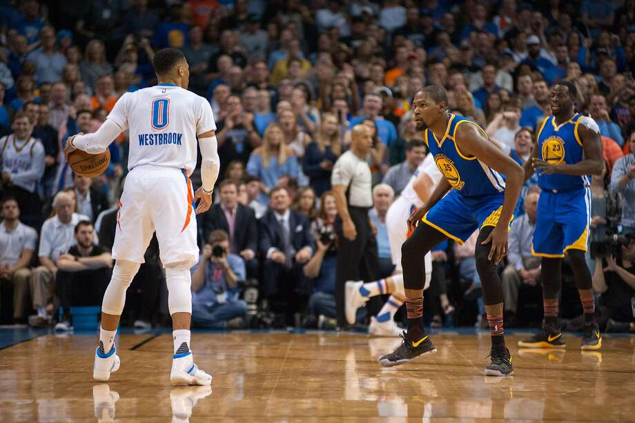 OKLAHOMA CITY, OK - FEBRUARY 11:   Golden State Warriors Forward Kevin Durant (35) guarding Oklahoma City Thunder Guard Russell Westbrook (0)  on February 11, 2017, at the Chesapeake Energy Arena Oklahoma City, OK. (Photo by Torrey Purvey/Icon Sportswire via Getty Images) Photo: Icon Sportswire, Icon Sportswire Via Getty Images