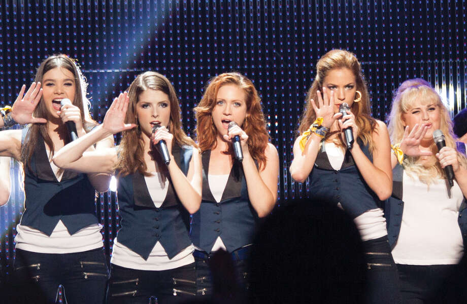 """(L to R) Emily (HAILEE STEINFELD), Beca (ANNA KENDRICK), Chloe (BRITTANY SNOW), Stacie (ALEXIS KNAPP) and Fat Amy (REBEL WILSON) perform as the Barden Bellas in """"Pitch Perfect 2"""", the follow-up to 2012's surprise hit. Photo: Credit: Richard Cartwright / Copyright: © 2015 Universal Studios. Credit: Richard Cartwright."""