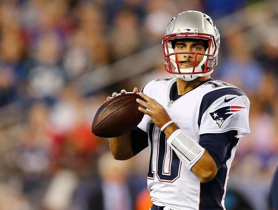 FOXBORO, MA - AUGUST 22: Jimmy Garoppolo #10 of the New England Patriots prepares to throw in the fourth quarter against Carolina Panthers in a preseason game at Gillette Stadium on August 22, 2014 in Foxboro, Massachusetts. (Photo by Jim Rogash/Getty Images) Photo: Jim Rogash, Getty Images