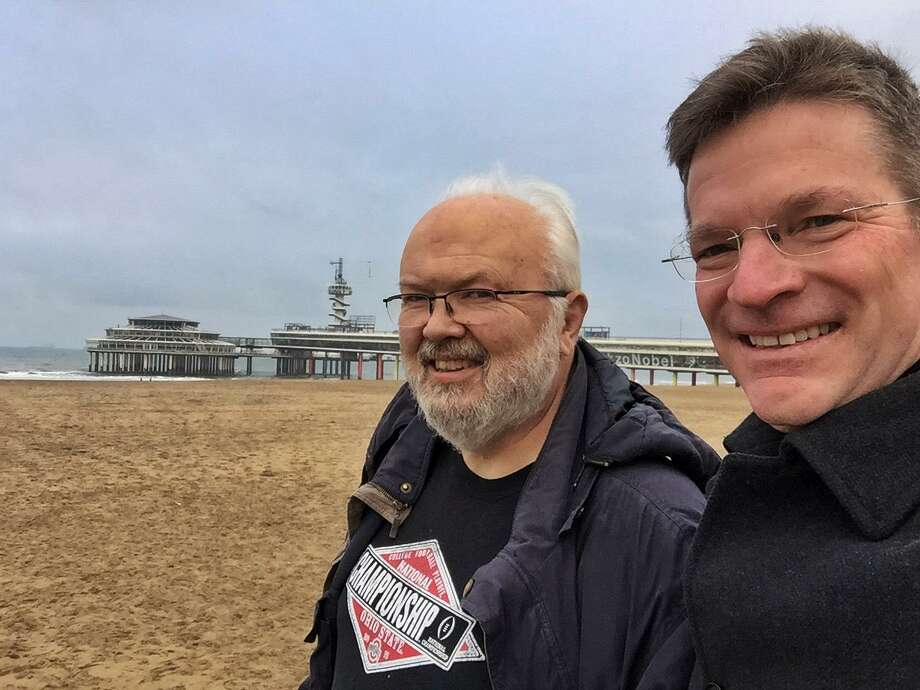 David Ives and Sean Duffy on a recent trip to The Hauge, Netherlands for the awarding of The International Children's Peace Prize in December. Photo: Contributed Photo