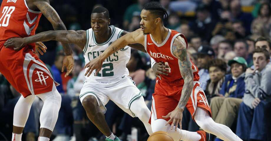 Houston Rockets' Gerald Green (14) drives past Boston Celtics' Terry Rozier (12) during the first quarter of an NBA basketball game in Boston, Thursday, Dec. 28, 2017. (AP Photo/Michael Dwyer) Photo: Michael Dwyer/Associated Press
