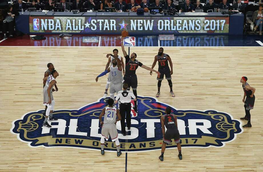 Cleveland's LeBron James (23, left) and New Orleans' Anthony Davis go for the opening tip in last season's All-Star Game, which the West won 192-182. Photo: Jonathan Bachman / Getty Images / 2017 Getty Images