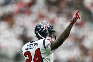 Houston Texans cornerback Johnathan Joseph (24) celebrates after making a stop on third down in the second half as the Houston Texans lose to the Jacksonville Jaguars 29-7 at NRG Stadium Sunday, Sept. 10, 2017 in Houston. ( Michael Ciaglo / Houston Chronicle)
