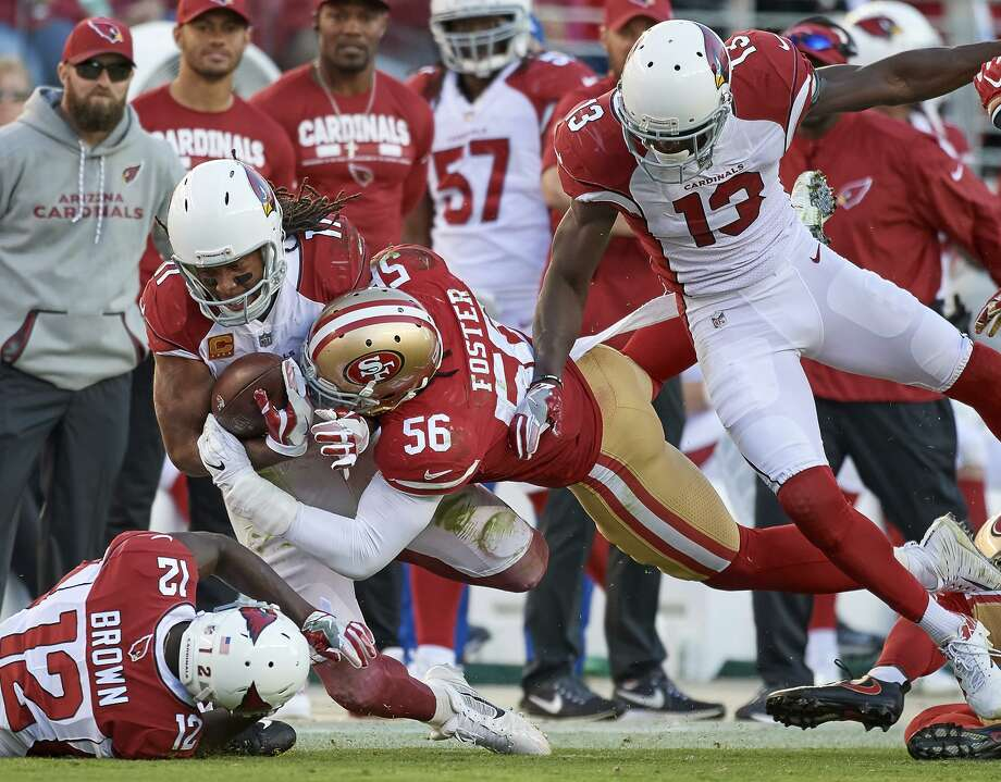 49ers LB Reuben Foster (56) has missed six games and received on-field medical attention on at least five other occasions. Photo: Icon Sportswire / Icon Sportswire / Icon Sportswire Via Getty Images / ©Icon Sportswire (A Division of XML Team Solutions) All Rights Reserved