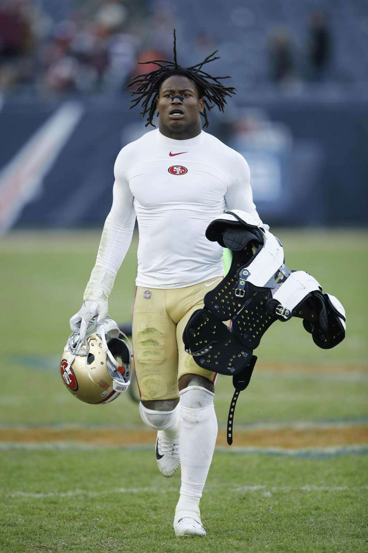 CHICAGO, IL - DECEMBER 03: Reuben Foster #56 of the San Francisco 49ers looks on after a game against the Chicago Bears at Soldier Field on December 3, 2017 in Chicago, Illinois. The 49ers won 15-14. (Photo by Joe Robbins/Getty Images)