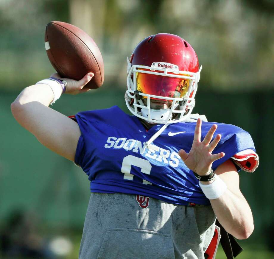 Oklahoma quarterback Baker Mayfield participates in drills during a short segment of practice that was open to the media Friday, Dec. 29, 2017, in Carson, Calif. Oklahoma plays Georgia in a semifinal of the College Football Playoff on New Year's Day. (Bob Andres/Atlanta Journal-Constitution via AP) Photo: Bob Andres, MBO / 2017 Atlanta Journal Constitution