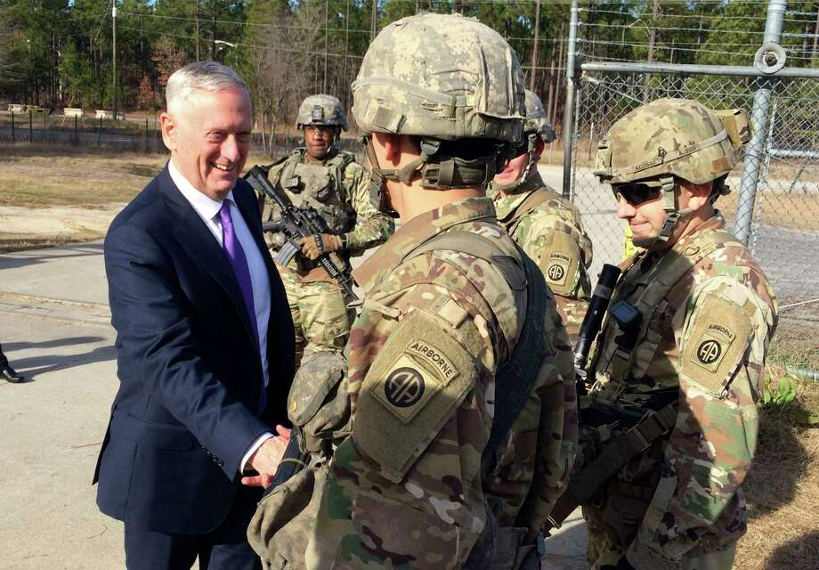 Defense Secretary Jim Mattis  greets soliders at Fort Bragg, N.C., Friday, Dec. 22, 2017. (AP Photo/Robert Burns) Photo: Robert Burns / AP