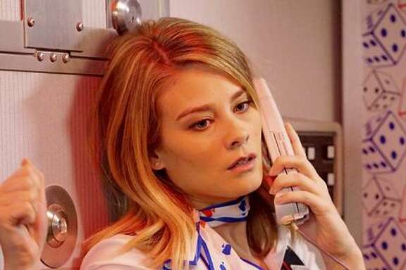 """Kim Matula in Fox's new comedy, """"LA to Vegas,"""" which is set on an airplane."""