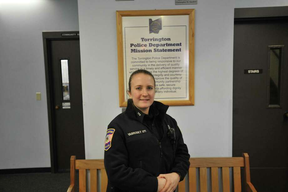 New Hartford native Hannah Yabrosky recently started her career with the Torrington Police Department. Photo: Ben Lambert / Hearst Connecticut Media