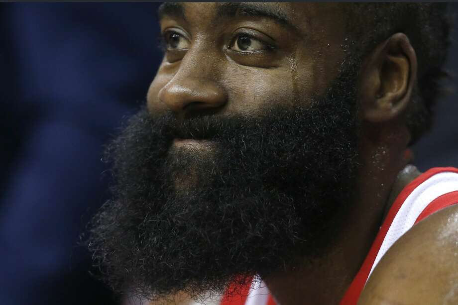 WASHINGTON, DC - DECEMBER 29: James Harden #13 of the Houston Rockets sits on the bench during the second half against the Washington Wizards at Capital One Arena on December 29, 2017 in Washington, DC. NOTE TO USER: User expressly acknowledges and agrees that, by downloading and or using this photograph, User is consenting to the terms and conditions of the Getty Images License Agreement. (Photo by Rob Carr/Getty Images) Photo: Rob Carr/Getty Images