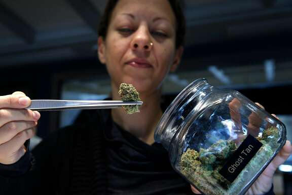 Laura Sotak examines medicinal cannabis for patient Mark Henderson at The Apothecarium dispensary in San Francisco, Calif. on Friday, Dec. 29, 2017. The rules may vary for medicinal cannabis users that hold a locally-issued medical card instead of one officially issued by the state once public sales of marijuana becomes legal Jan. 1.