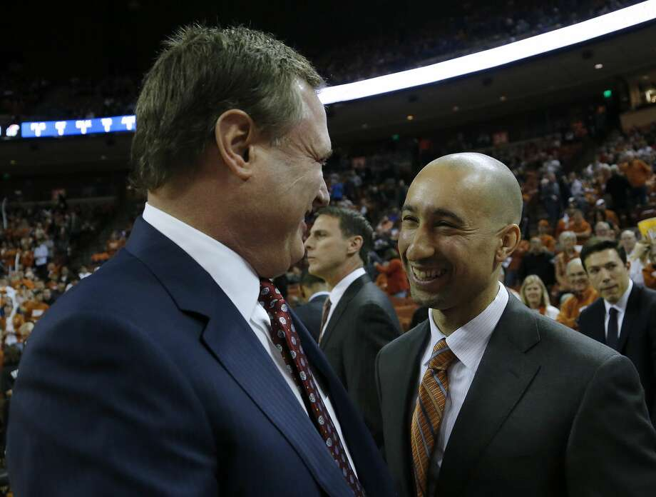 AUSTIN, TX - DECEMBER 29: Head coach Shaka Smart of the Texas Longhorns and head coach Bill Self of the Kansas Jayhawks meet before the game at the Frank Erwin Center on December 29, 2017 in Austin, Texas. (Photo by Chris Covatta/Getty Images) Photo: Chris Covatta/Getty Images