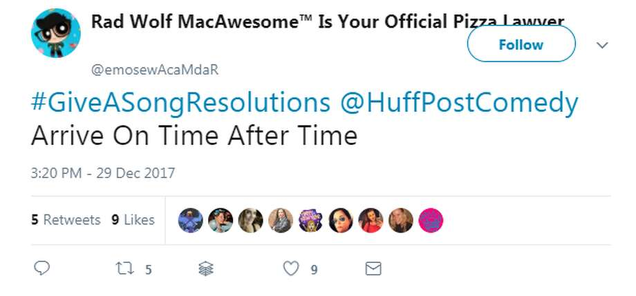 Twitter users share their resolutions in hilarious tweets using the hastag, #GiveASongResolutions.Photo: Twitter Photo: Twitter