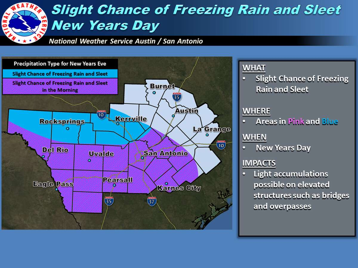 Very cold weather will cover the entire San Antonio area, with the coldest temperatures in the Hill Country.