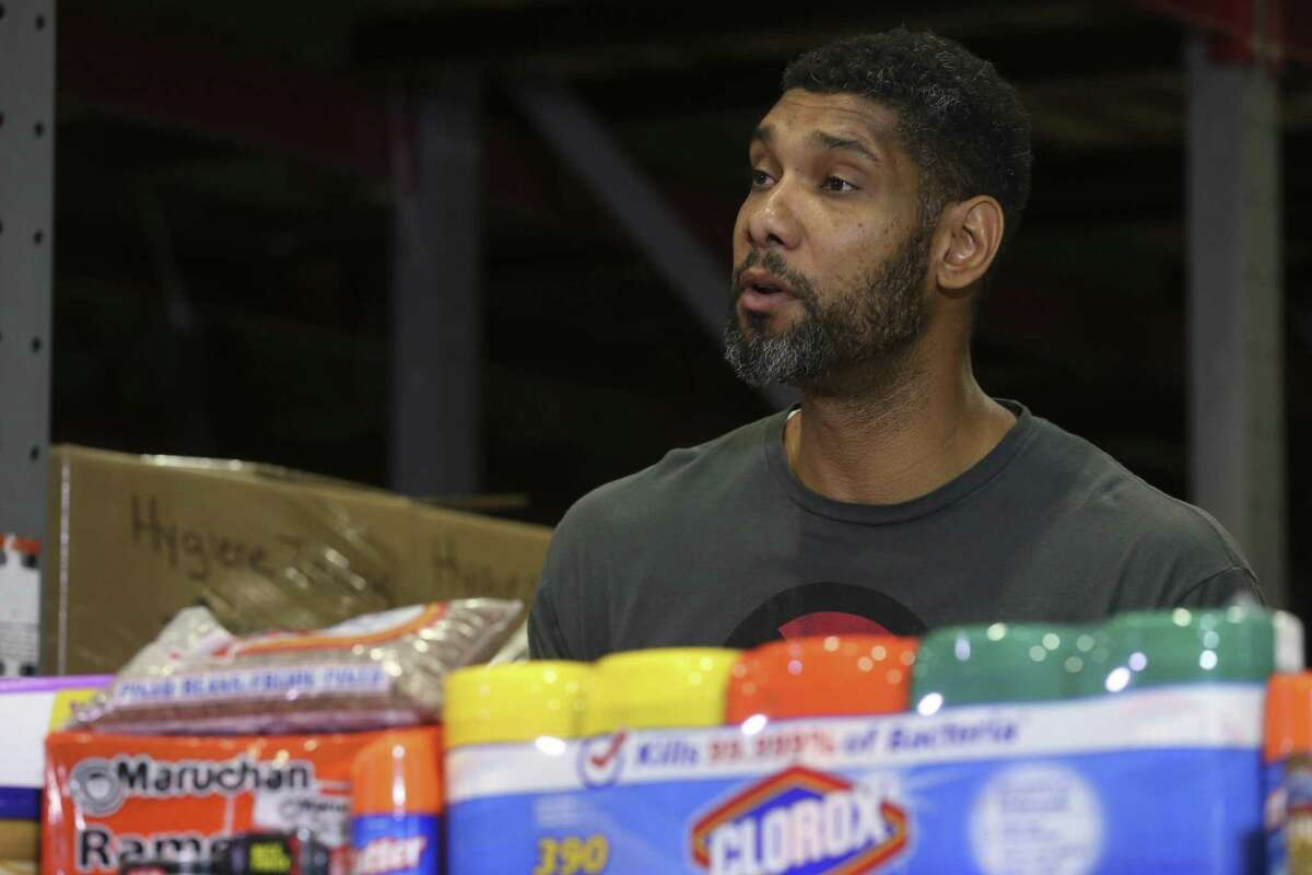 Former San Antonio Spurs player Tim Duncan, announces a hurricane relief mission to the U.S. Virgin Islands during a press conference at the San Antonio Food Bank, Sunday, Sept. 10, 2017. With him at the conference was San Antonio Food Bank President/CEO Eric Cooper.
