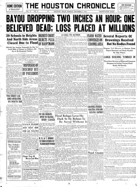 Front-page editorial after the great 1935 flood in Houston Photo: Houston Chronicle