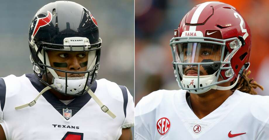 Texans quarterback Deshaun Watson gave Alabama quarterback Jalen Hurts some advice about bouncing back from a big loss. Photo: AP/Getty