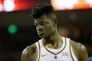 AUSTIN, TX - DECEMBER 29: Mohamed Bamba #4 of the Texas Longhorns stands on the court during the game with the Kansas Jayhawks at the Frank Erwin Center on December 29, 2017 in Austin, Texas.