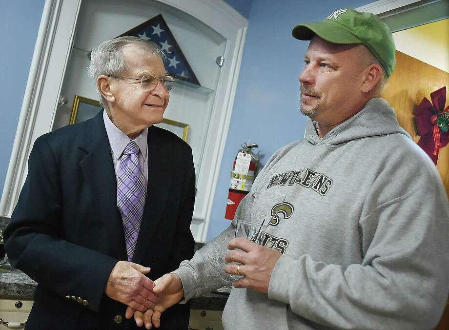 """Richard Dziekan, the Mayor of Derby wishes World War II veteran Leonard """"Lindy"""" Witek a happy 90th birthday, Saturday, Dec. 30, 2017,at the Catholic War Veteran's Hall at 112 Derby Avenue in Derby. Dziekan is a long-time friend of the Witek family. Photo: Catherine Avalone, Hearst Connecticut Media / New Haven Register"""