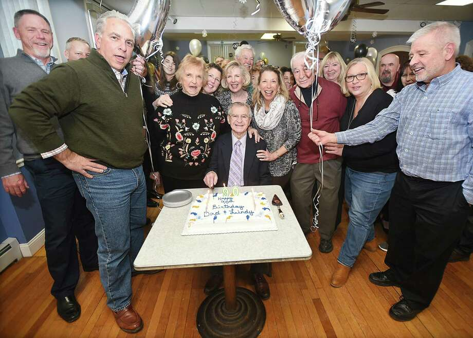 """World War II veteran Leonard """"Lindy"""" Witek celebrates his 90th birthday, Saturday, Dec. 30, 2017, surrounded by his children, family and friends at the Catholic War Veteran's Hall at 112 Derby Avenue in Derby. Photo: Catherine Avalone / Hearst Connecticut Media / New Haven Register"""