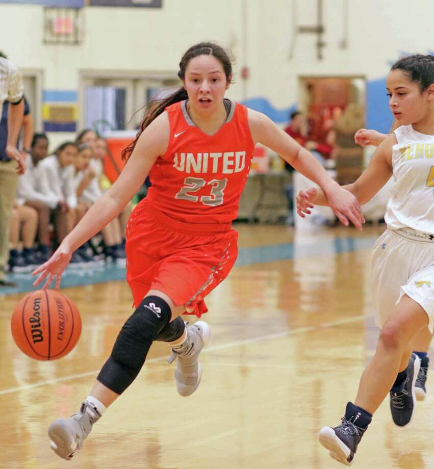 At 22 points per game, United junior Natalia Trevino was named the House of Pain Tournament's Most Valuable Player as the Lady Longhorns won the event for the second straight season. Trevino led United to a 61-59 win in the championship Saturday over McAllen Memorial to cap a five-game sweep of the tournament. Photo: Clara Sandoval / Laredo Morning Times