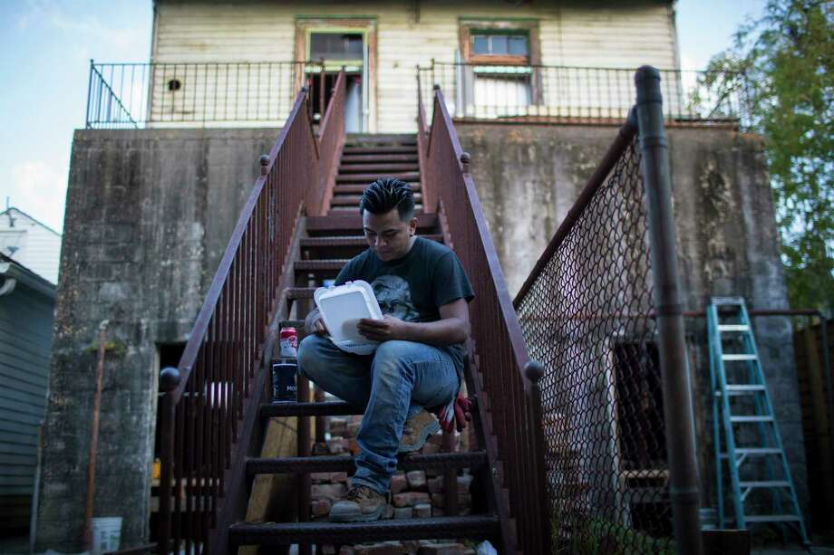 William Gilberto Landaverde, a plumber from El Salvador, wonders when he will see his mother and brother again. Photo: Marie D. De Jesus, Houston Chronicle / © 2017 Houston Chronicle