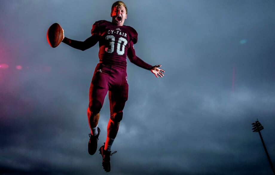Cy-Fair High School linebacker Patrick Atkinson is the All-Greater Houston defensive player of the year Wednesday, Dec. 27, 2017 in Cypress. ( Michael Ciaglo / Houston Chronicle) Photo: Michael Ciaglo, Houston Chronicle / Michael Ciaglo