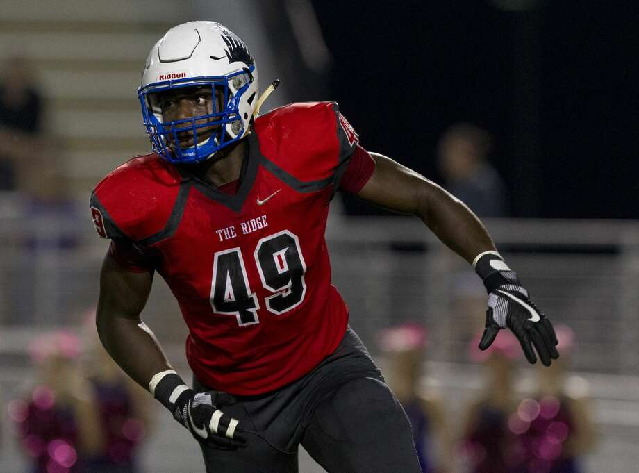 Oak Ridge defensive linemen Joseph Ossai (49) is seen during the first quarter of a District 12-6A high school football game at Woodforest Bank Stadium, Friday, Oct. 6, 2017, in Shenandoah. Photo: Jason Fochtman/Houston Chronicle