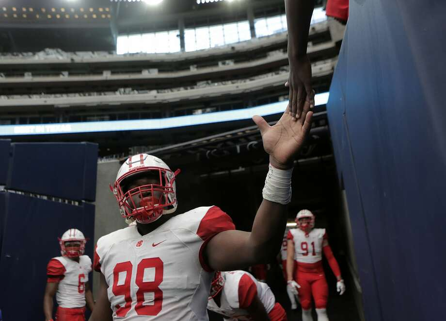 Defensive lineman Moro Ojomo, Sr., KatyCoach Gary Joseph says Ojomo disrupts offensive lines in ways that don't show up on the stat sheet. The defensive tackle is now one of the fastest-rising unsigned recruits in Houston. Photo: Elizabeth Conley/Houston Chronicle