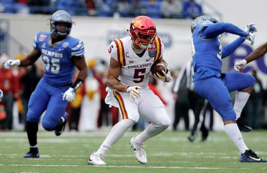 Iowa State wide receiver Allen Lazard (5) runs the ball after making a reception against Memphis during the first half of the Liberty Bowl NCAA college football game Saturday, Dec. 30, 2017, in Memphis, Tenn. Lazard tied a Liberty Bowl record with 10 catches as Iowa State won 21-20. (AP Photo/Mark Humphrey) Photo: Mark Humphrey / Copyright 2017 The Associated Press. All rights reserved.