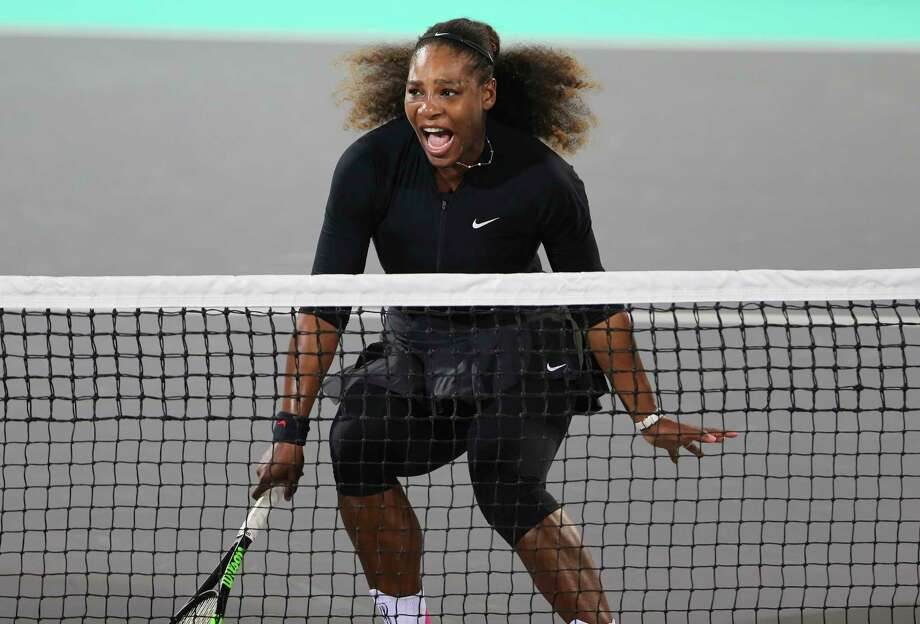Serena Williams returned to the tennis court Saturday for the first time since giving birth in September, losing to Jelena Ostapenko in an exhibition match. Photo: Kamran Jebreili, STF / Copyright 2017 The Associated Press. All rights reserved.